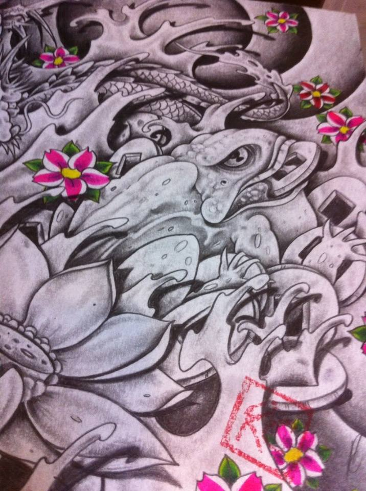 Japanese frog tattoo drawing