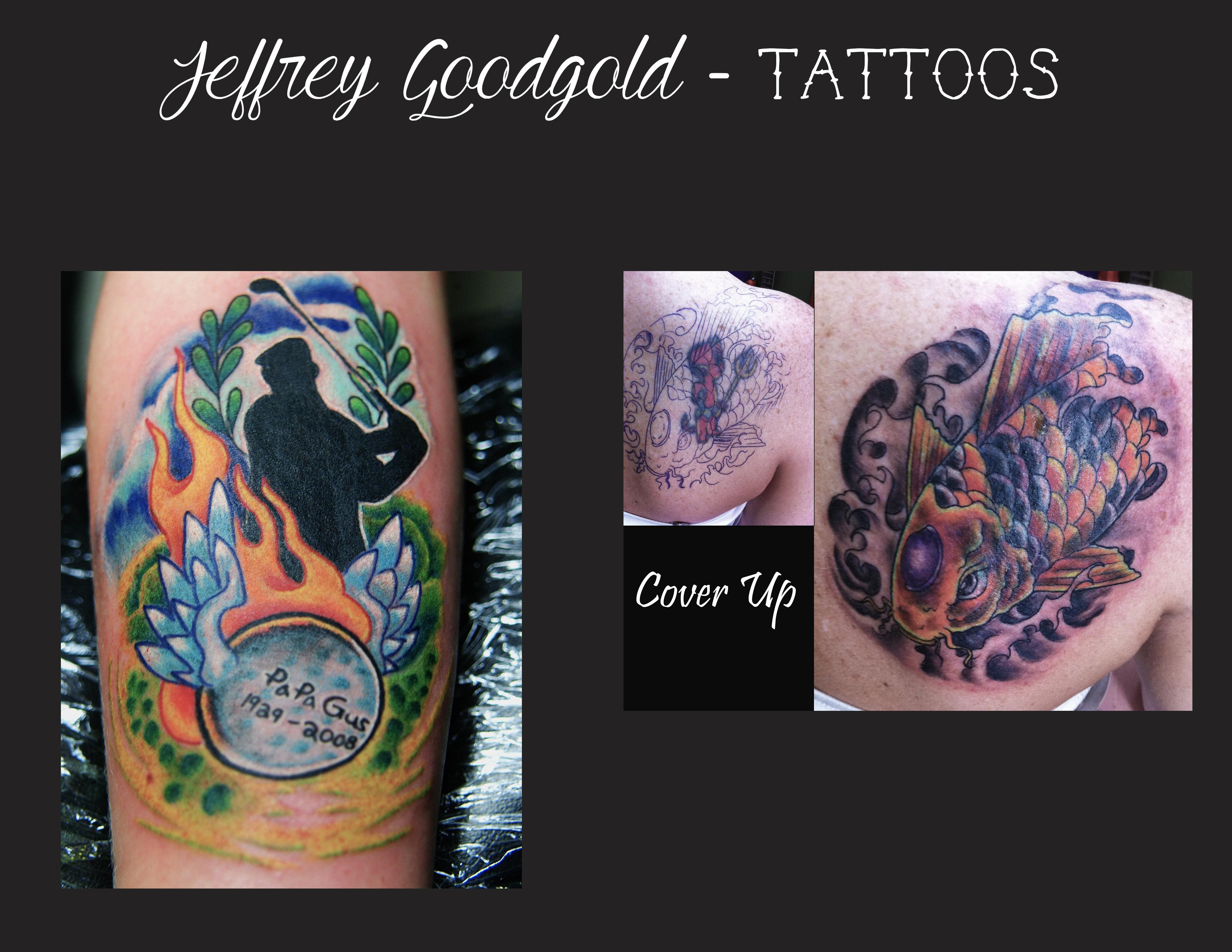Golf & koi coverup tattoo