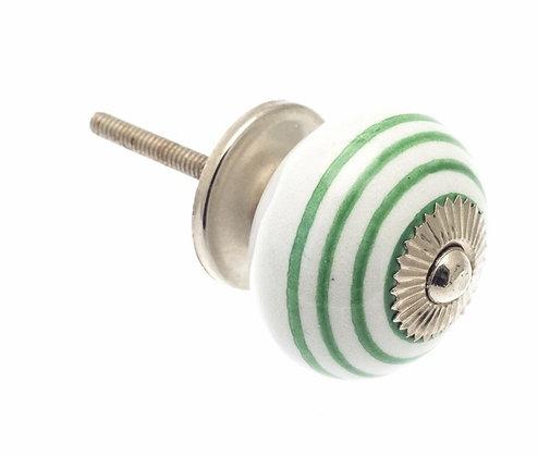 Ceramic Draw Knob - White with Green stripes