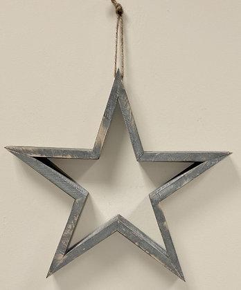 Grey Hanging Wooden Star