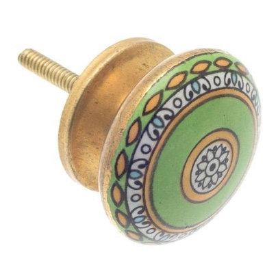Moroccan style Ceramic Draw Knob -Mosaic Green