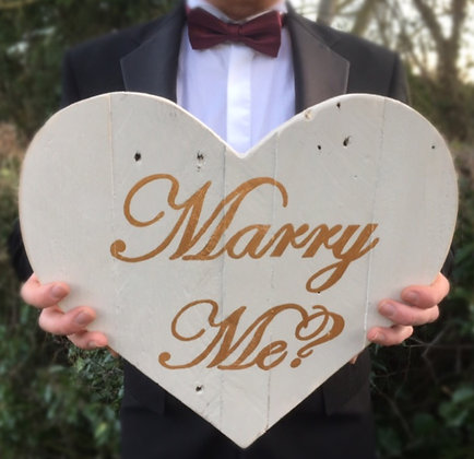Hand Painted Reclaimed Wooden Vintage Style Heart Proposal Sign - Marry Me?
