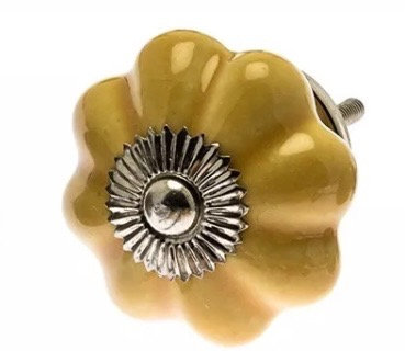 Ceramic Draw Knob - Flower shaped Saffron Yellow
