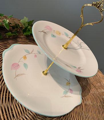 Vintage TwoTier Cake Stand (C) - Pastel colours