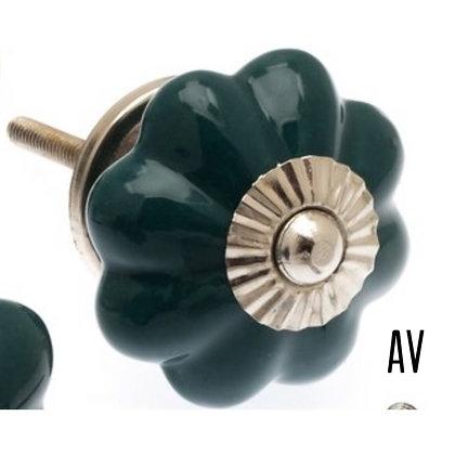 Ceramic Draw Knob - Flower shaped Teal