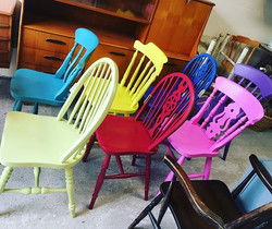 Set of 7 colour pop chairs going out the door this evening for delivery #Paintedchairs #colourpop #c