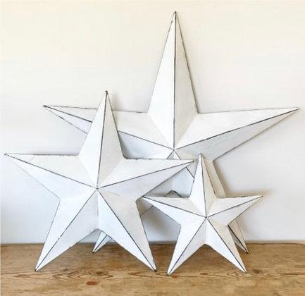White Rustic Metal Barn Stars- Small, Medium or Large