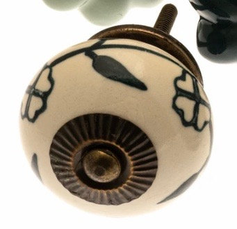 Ceramic Draw Knob - Cream with Green Flowers