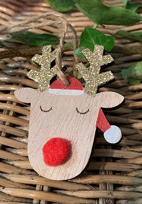 Christmas Pom Pom Reindeer Hanging Decoration - Mrs