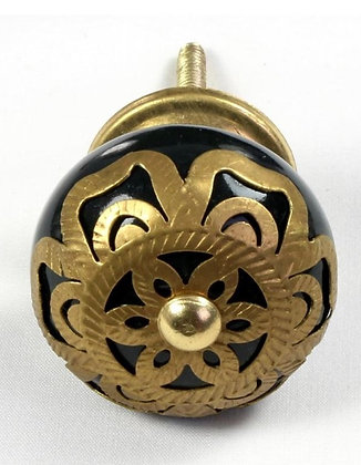 Moroccan style Ceramic Draw Knob - Black with BrassOrnate Fret Work