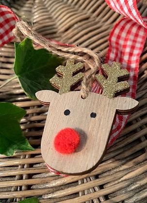 Christmas Pom Pom Reindeer Hanging Decoration - Mr
