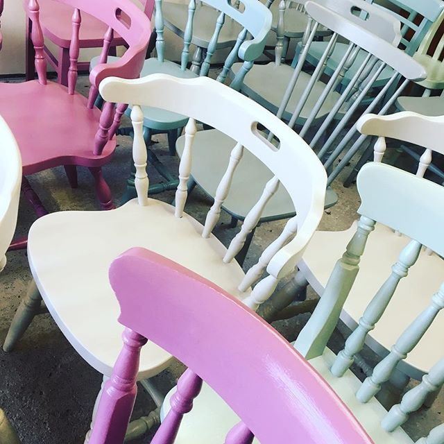 Sneak preview of 40 Painted chairs fab Frenchic colours