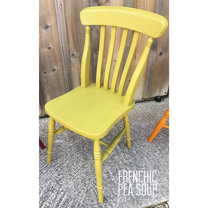 Mismatched Painted Chair - Pea Soup- Light Lime Green
