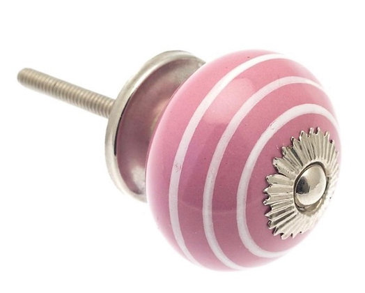 Ceramic Draw Knob - Pink & White Stripy