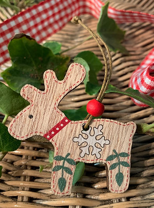 Christmas Scandinavian Reindeer Hanging Decoration - Snowflake