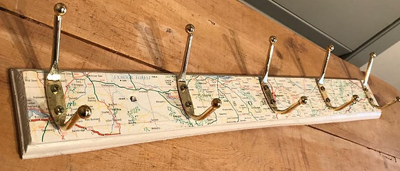 Rustic Somerset Map Decoupaged Coat Hooks