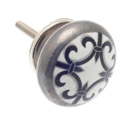Moroccan style Ceramic Draw Knob -Black, White & Silver