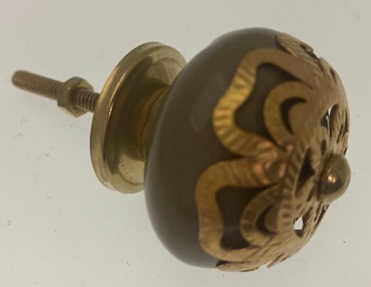 Moroccan style Ceramic Draw Knob - Olive with BrassOrnate Fret Work