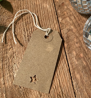 Vintage Style Christmas Brown Gift Tags - Pack of 10 - Star Cu