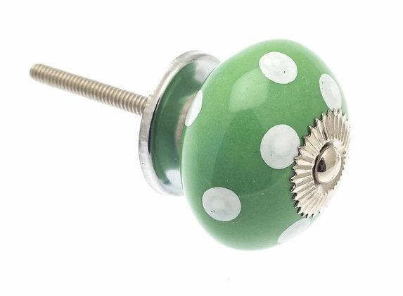 Ceramic Draw Knob - Green with White Polka dot