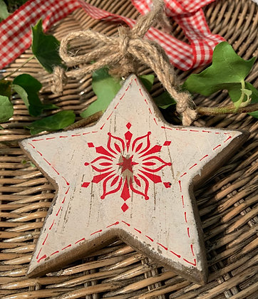 Chunky Shabby Chic Star Hanging Decoration