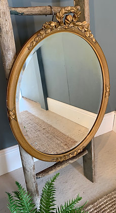 Vintage Gold Framed Oval Ornate Mirror