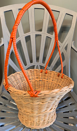 Vintage Orange Handled Basket