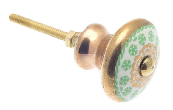 Moroccan style Ceramic Draw Knob - Frost Green & Antique Gold