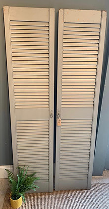 Pair of Shabby Painted Shutters