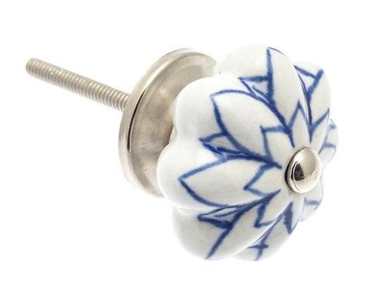 Ceramic Draw Knob - Flower shaped with Blue Flower