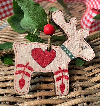 Christmas Scandinavian Reindeer Hanging Decoration -Heart