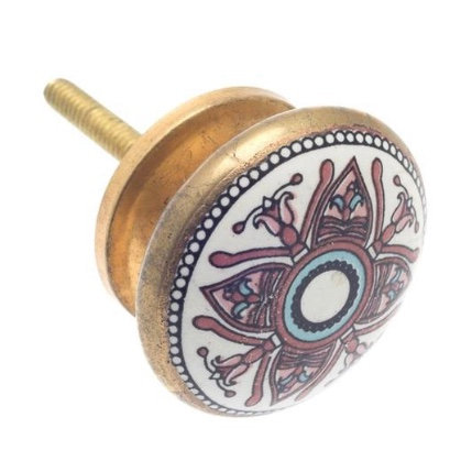 Moroccan style Ceramic Draw Knob -Mosaic Lilac & Gold