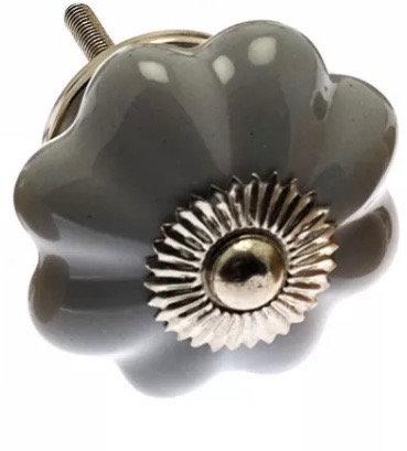 Ceramic Draw Knob - Flower shaped Grey