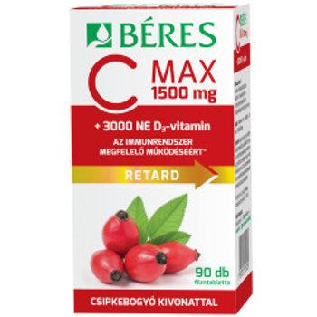 C MAX 1500 мг RETARD с экстрактом шиповника + 3000 МЕ витамина D3 90 таб