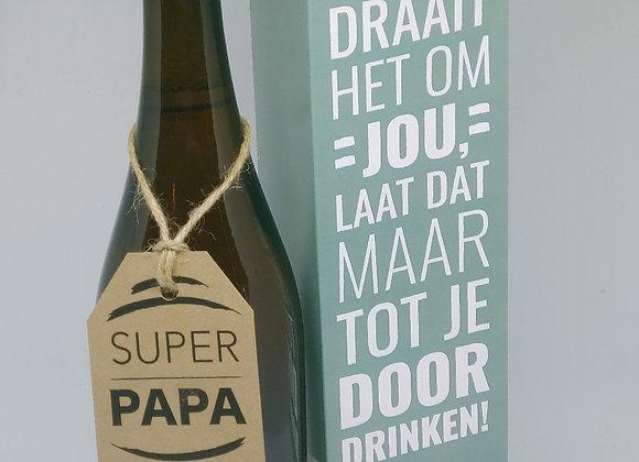 XL bierfles 'Super papa' + geschenkdoos