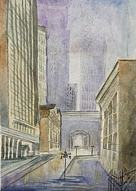 rain cityscape