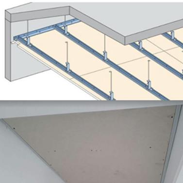Estrutura metálica do forro de gesso drywall