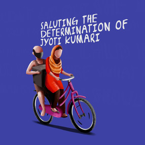 Jyoti kumari, 15-year girl who cycled to bring her ailing father home during migrant crisis.