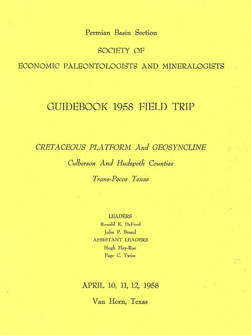 Cretaceous Platform and GeoSyncline Culberson and Hudspeth Counties