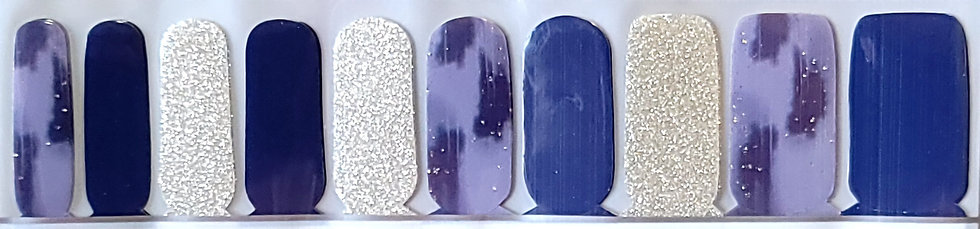 Silver Glitter & Blue Painted Mixed Mani
