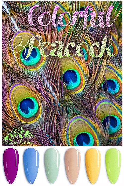 Colorful Peacock Dip Powders