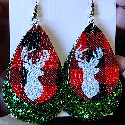 Buffalo Plaid With Deer Head Teardrop Earrings