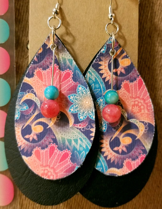 Stitched Colorful Floral NAS Teardrop Earrings on Black