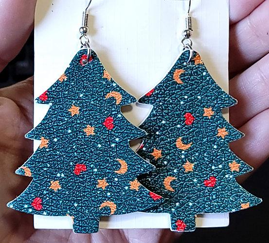 Moons & Stars Christmas Tree Earrings
