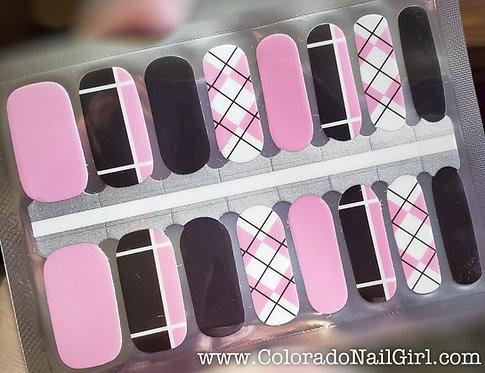 Argyle Pink Mixed Mani