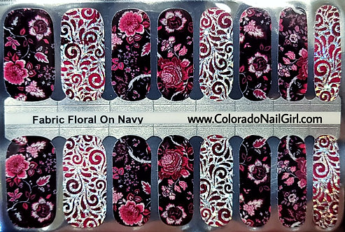 Fabric Floral On Navy