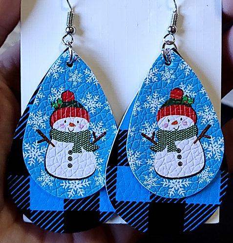 Snowmen On Plaid Teardrop Earrings