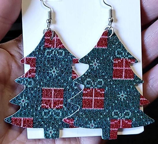Gift Box Christmas Tree Earrings