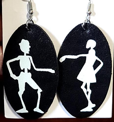 Glowing Skeleton Couple Oval Earrings on Black