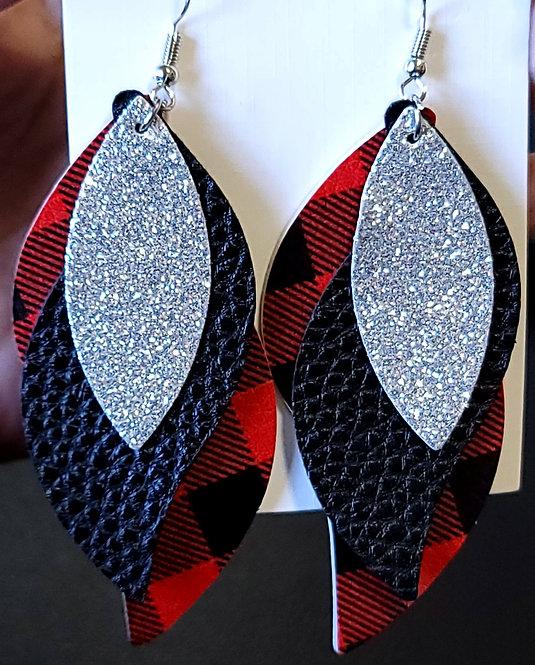 Buffalo Plaid Silver Glitter S Shaped Earrings